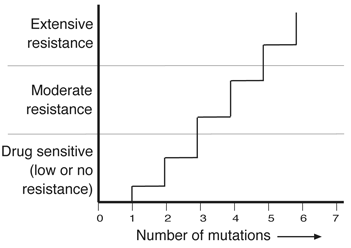 Graph showing number of mutations increasing from 1 (low resistance) to 6(extensive resistance)