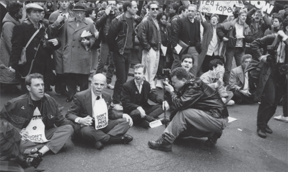 Sit-down protest in street