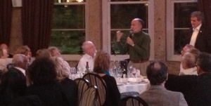 Bob Munk at the speakers dinner for the Glasgow Conference in 2012, receiving an award from Professor Ian Weller, in recognition of his many years help with organising the conference.
