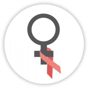 Women's symbol with HIV/AIDS ribbon