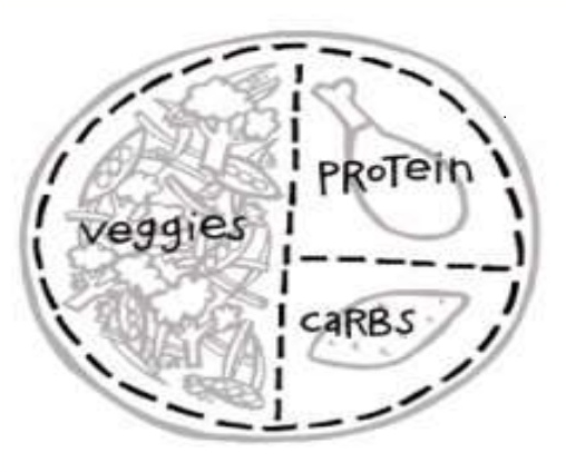 Food plate - half veg, a third protein, 1 fifth carbs