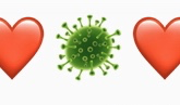 graphic of green coronavirus with a red heart either side
