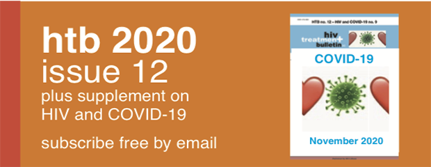 Image is the cover of HIV Treatment Bulletin plus supplement on COVID-19